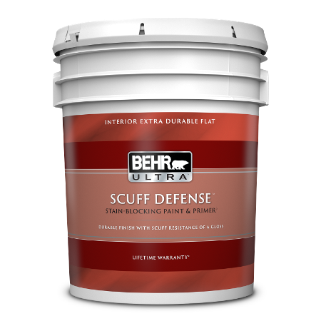 BEHR Ultra Scuff Defense interior extra durable flat 5 gallon product can image.