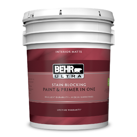 BEHR Ultra interior matte 5 gallon product can image.