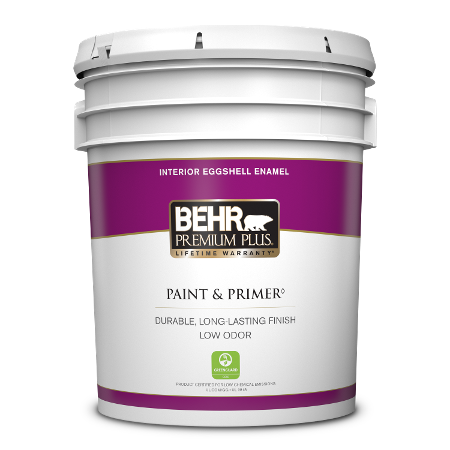 BEHR Premium Plus interior eggshell enamel 5 gallon product can image.