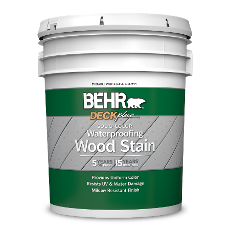 BEHR DECKplus Solid Color Waterproofing Wood Stain 5 Gallon image.