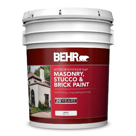 BEHR Masonry, Stucco & Brick Paint - Flat 5 Gallon image.