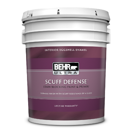 5 gallon can of BEHR ULTRA SCUFF DEFENSE in Interior Eggshell Enamel