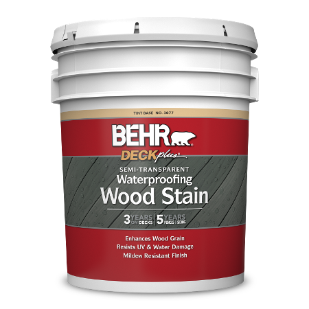 BEHR DECKplus Semi-Transparent Waterproofing Wood Stain 5 gallon image.