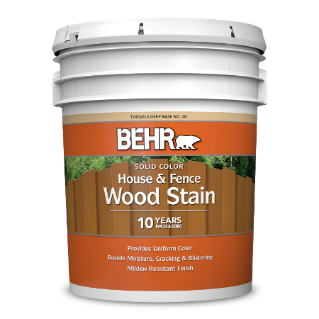 BEHR Solid Color House & Fence Wood Stain 5 gallon image.