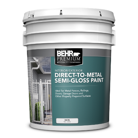BEHR Premium direct to metal semi gloss 5 gallon product can image.