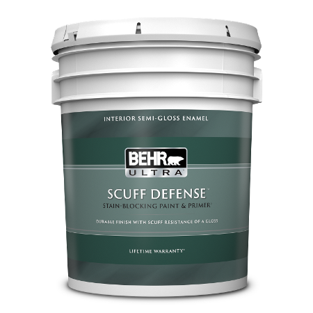 BEHR Ultra Scuff Defense interior semi-gloss 5 gallon product can image.
