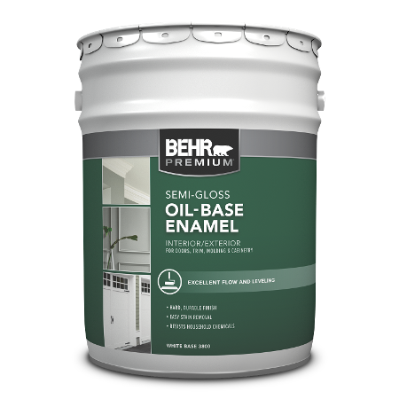 BEHR Oil-base Semi-gloss Enamel 5 Gallon product can Image.