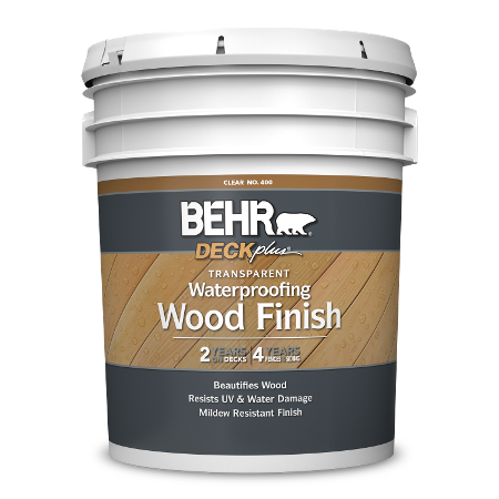 BEHR DECKplus Transparent Waterproofing Wood Finish 5 gallon image.