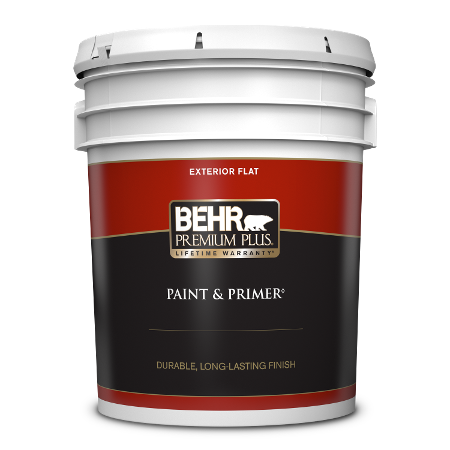 BEHR Premium Plus exterior flat 5 gallon product can image.