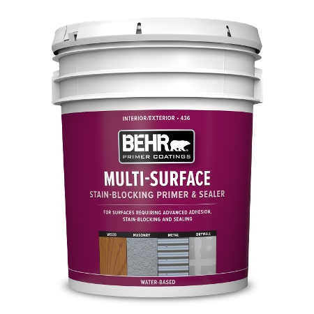 BEHR Multi-Surface Stain-Blocking Primer and Sealer 5 gallon product can image.