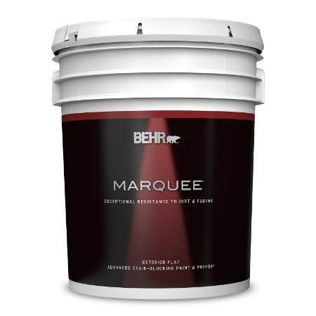BEHR Marquee exterior flat 5 gallon product can image.