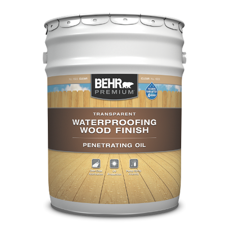 5 gallon pail of Behr Premium Transparent Penetrating Oil Wood Finish