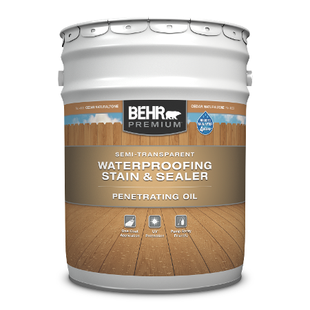 5 gallon pail of Behr Premium Semi Transparent Penetrating Oil Wood Finish