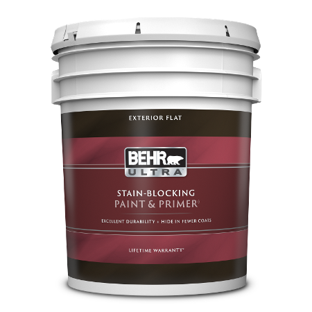 BEHR Ultra exterior flat 5 gallon product can image.