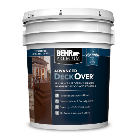 BEHR PREMIUM ADVANCED DECKOVER textured 5 Gallon image.