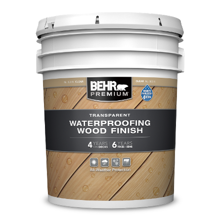 BEHR PREMIUM Transparent Waterproofing wood finish 5 Gallon image.