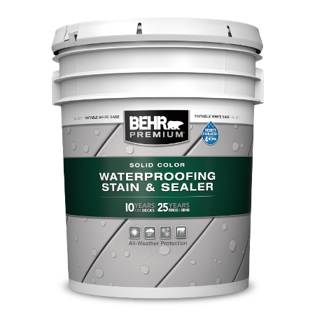 BEHR PREMIUM Solid Color Waterproofing Stain and Sealer 5 Gallon image.