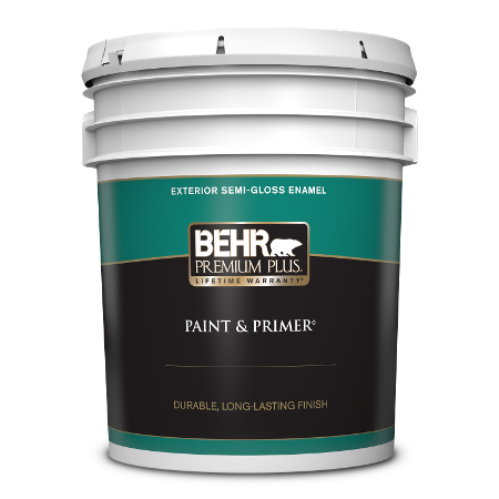 BEHR Premium Plus exterior semi-gloss enamel 5 gallon product can image.