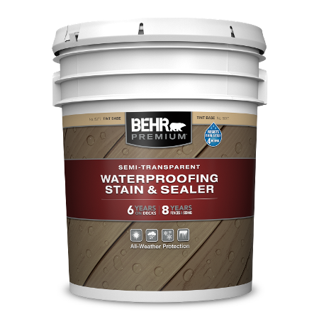 BEHR PREMIUM Semi-transparent Waterproofing Stain and Sealer 5 Gallon image.