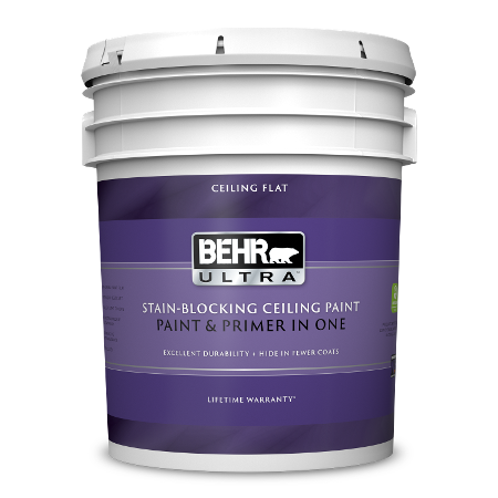 BEHR Ultra interior ceiling flat 5 gallon product can image.