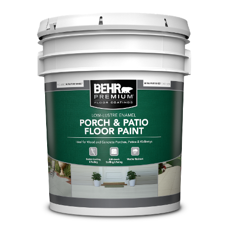 BEHR PREMIUM Porch and Patio Floor Paint - Low-Lustre Enamel 5 Gallon can.