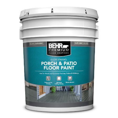 BEHR PREMIUM Porch and Patio Floor Paint - Gloss Enamel 5 Gallon can.