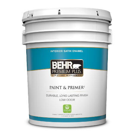 BEHR Premium Plus interior satin enamel 5 gallon product can image.