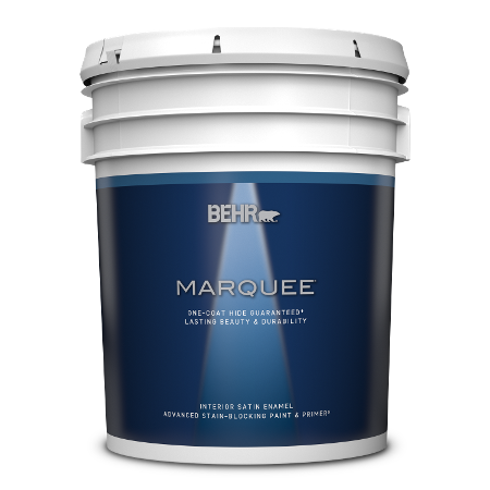 BEHR Marquee interior satin enamel 5 gallon product can image.