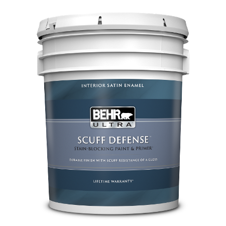 BEHR Ultra Scuff Defense interior satin enamel 5 gallon product can image.
