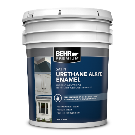 BEHR Urethane Alkyd Satin Enamel 5 Gallon product can Image.