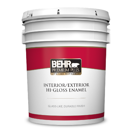 BEHR Premium Plus interior/exterior hi-gloss enamel 5 gallon product can image.