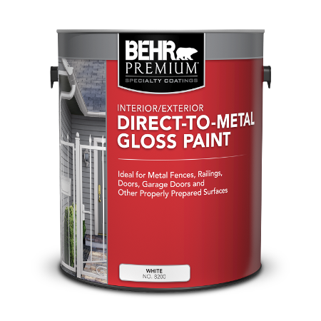 BEHR PREMIUM direct to metal gloss 5 Gallon product can Image.