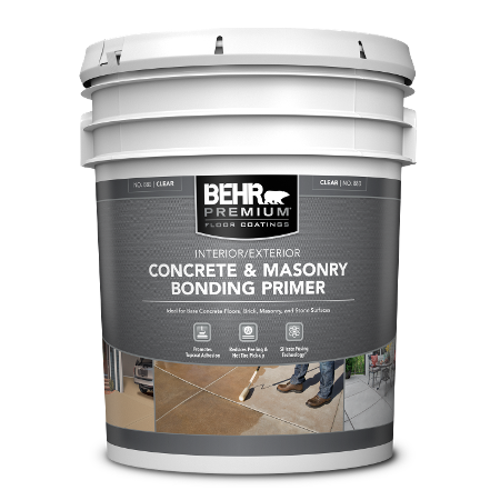 Five gallon bucket of BEHR Premium Concrete and Masonry Bonding Primer
