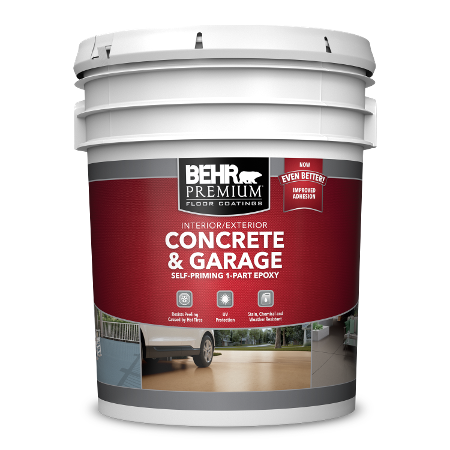 BEHR PREMIUM Interior/Exterior Concrete and Garage Self-Priming 1-Part Epoxy 5 Gallon can image.