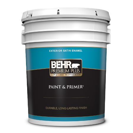 BEHR Premium Plus exterior satin enamel 5 gallon product can image.