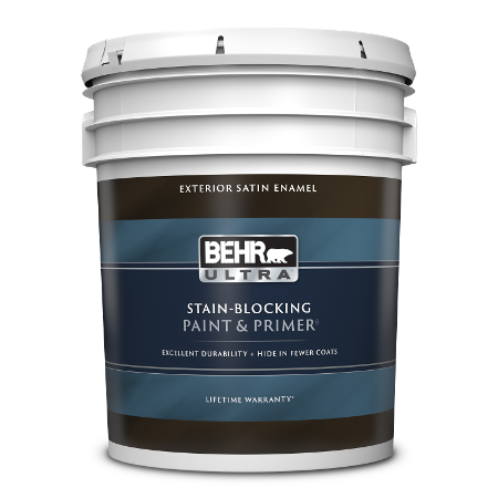 BEHR Ultra exterior satin 5 gallon product can image.