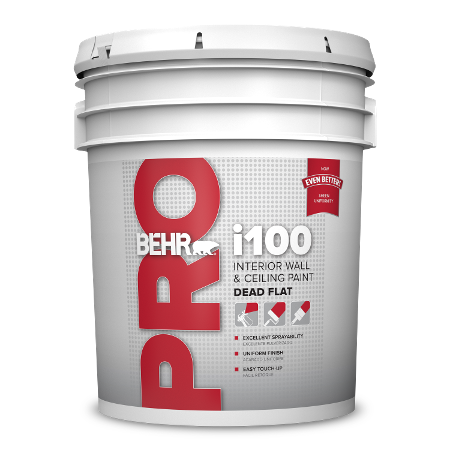 BEHR PRO i105 spray flat ceiling 5 gallon product can image.