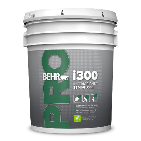 BEHR PRO i370 semi-gloss enamel 5 gallon product can image.