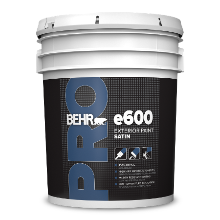 BEHR PRO e640 satin 5 gallon product can image.
