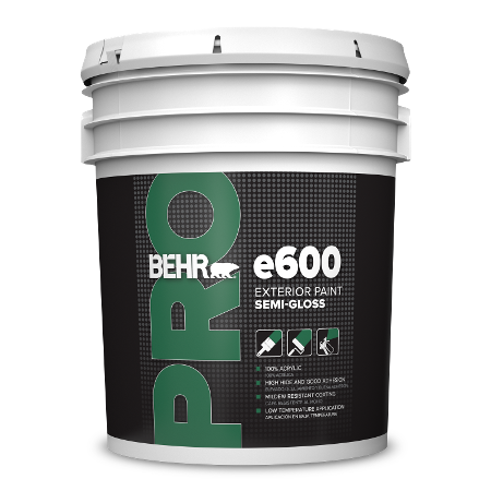 BEHR PRO e670 semi-gloss 5 gallon product can image.