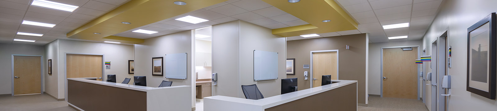 Large Image of an empty reception area you will find at your doctors office.