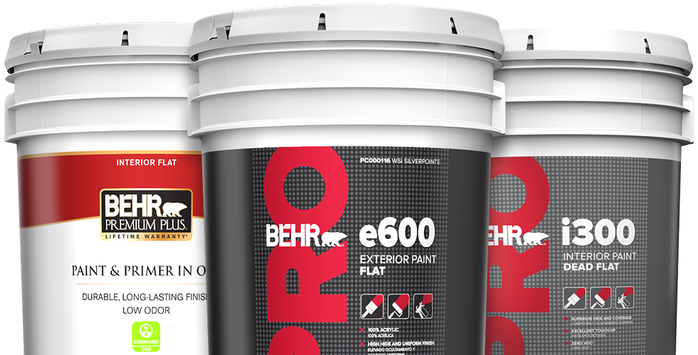 Three BEHR paint buckets