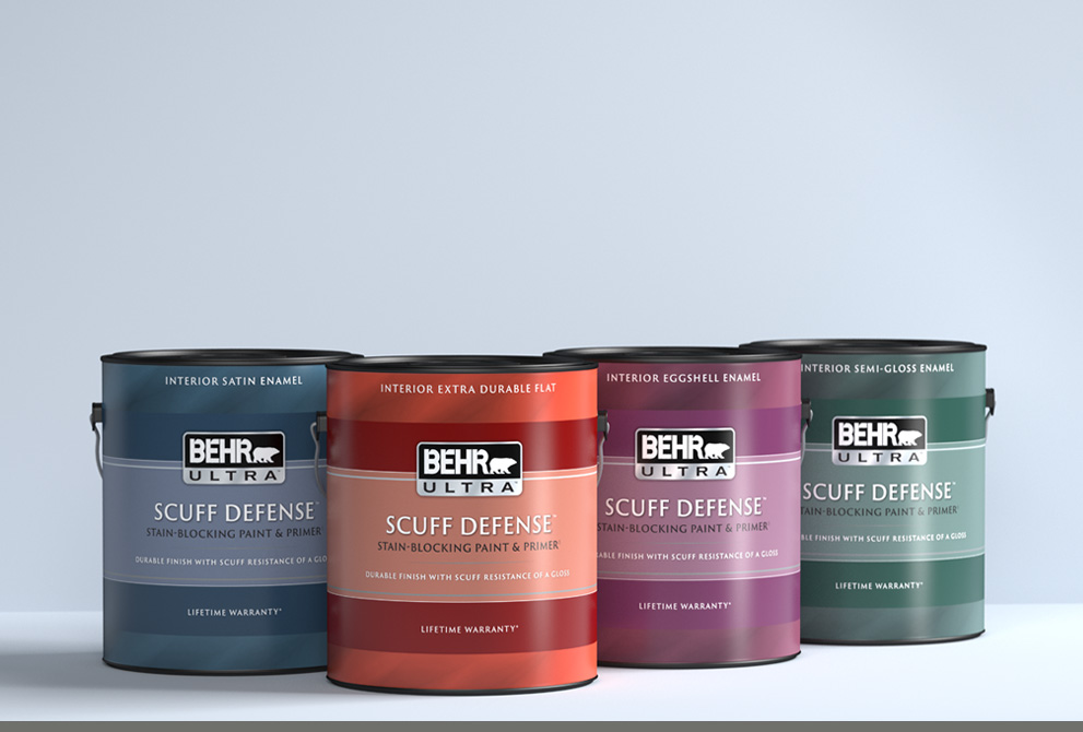 Tablet view of a 1 gallon can of BEHR ULTRA SCUFF DEFENSE on a gray background