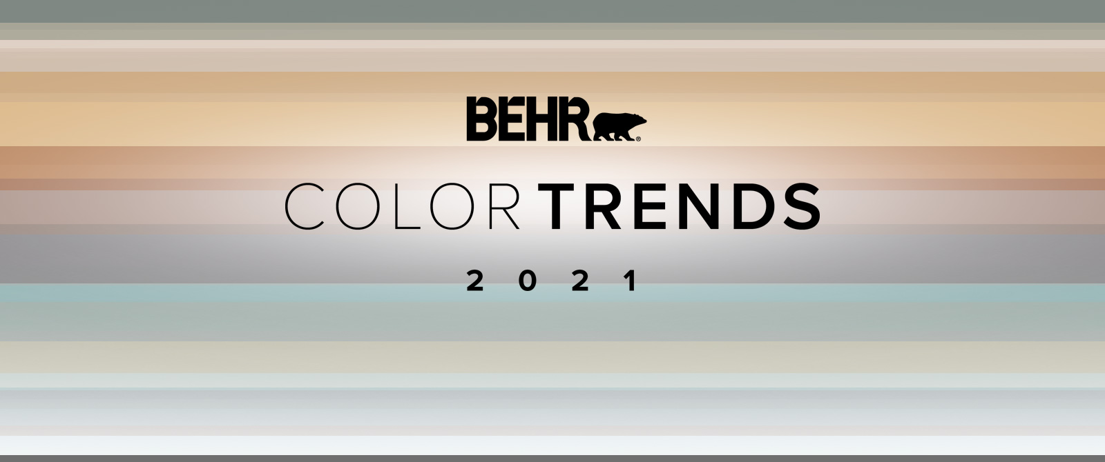 Image with the words BEHR Color Trends 2021 with the color palette in the background.