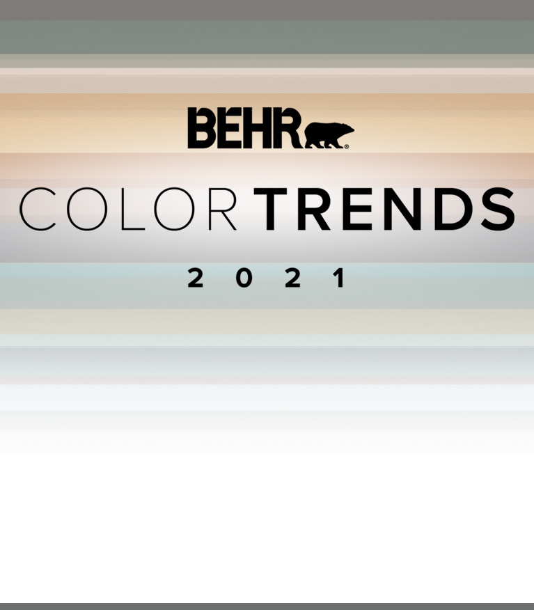 Mobile view of an image with the words BEHR Color Trends 2021 with the color palette in the background
