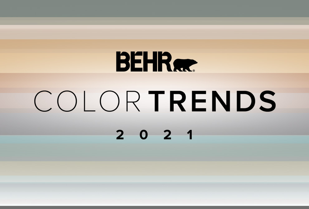 Tablet view of an image with the wordsBEHR Color Trends 2021 with the color palette in the background.