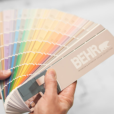 Image of a BEHR Interior & Exterior Color Collection Fan Deck that is spread like a fan.