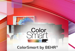 An image with the Colorsmart logo with the words ColorSmart by BEHR. The background is a mosaic of colors.