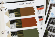 Image of several pages of a BEHR Color book where you have paint colors and color codes and images of the property.