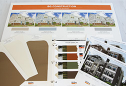 A collection of images of a Behr Colorboard with images of the property and colors chips, color drawdown and a color book which shows the image of a building.